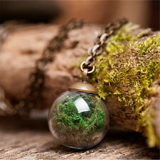 Nature Real green moss handmade necklace Wishing glass Ball tiny pendant chain