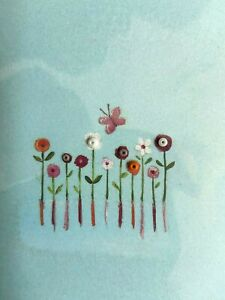Papyrus Blank All-Occasion Card, Tiny Watercolor Flowers & Butterfly with Beads