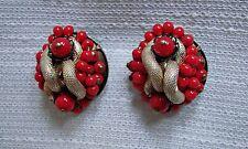 VINTAGE - BIJOUX - ORECCHINI PERLE ROSSE  A CLIP - OLD RED PEARLS EARRINGS CLIP