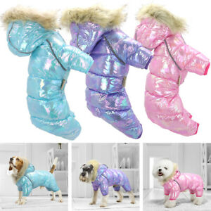 Waterproof Dog Coat Cold Winter Hoodie Jumpsuit Warm Jacket With Fur Collar Pink