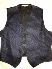 MENS  Victorian Edwardian Sherlock Holmes Dickens blue black print VEST size L