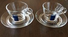 Lavazza Espresso Cup Coffee Cafe Rare Cappuccino Glass Set 2 pcs With Saucers