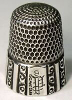 """Antique Simons Bros Sterling Silver Thimble  """"Fluted Octagon""""  """"GAP"""" Mngm  1889"""