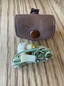 Vintage Transistor Radio Mono Earpiece Ear Phone w/ Leather Case Made in Japan