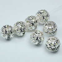 50pcs Silver plated Ball shape rhinestone crystal spacer beads 10mm