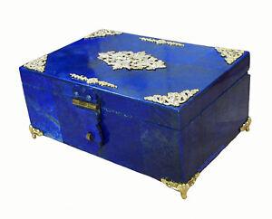 Hand Crafted Lapis Lazuli Gemstone / brass jewellery Box Afghanistan Music No:24