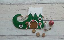 Hand Made Elf Boot Christmas Fairy Door Red Green set