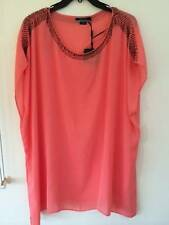 Free Post Womens NWT Basque Woman Coral Beaded Tunic Top Sizes 20