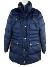 Kenneth Cole Womens Down Puffer Jacket Coat Size Medium Navy Blue
