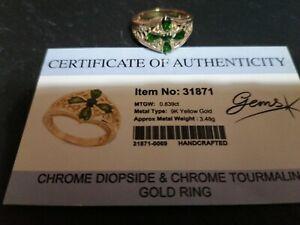 Chrome Diopside side & Chrome Tourmaline Gold Ring