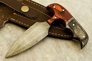 CK CUSTOM HAND MADE DAMASCUS Art Hunter Skinner Knife - # W-3497