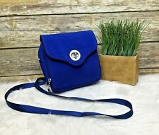 Baggallini Blue Nylon Top Zip Front Twist Lock Purse Shoulder Bag CrossBody