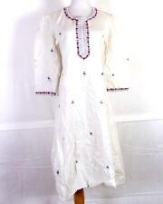 vtg 60s 70s Bhuri Mumbai India Embroidered Cotton Gauze Maxi Dress OAXACAN sz 43