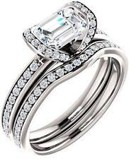 1.30 ct Emerald & round cut Diamond Engagement Vintage 14k White Gold Ring G SI1