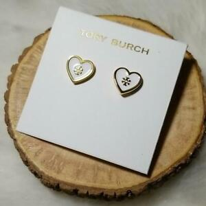 TORY BURCH ENAMEL HEART STUD EARRINGS WHITE