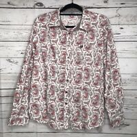 CINCH Western Shirt Womens Sz XXL Long Sleeve Button Down White Red Paisley