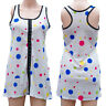 COLOURED SPOTS WHITE LONG VEST DRESS TOP Size 8 to 10 ALTERNATIVE GOTHIC EMO