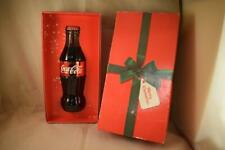 COLLECTABLE COCA-COLA COKE GLASS BOTTLE WITH RIBBON/BOW CHRISTMAS 2014 BOXED
