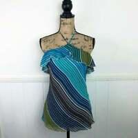 Guess Jeans Blue Green Stripe Halter Silk Top Women Size Medium MSRP $54.00 NWT