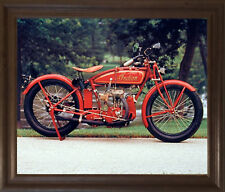 Old Red Indian Classic Vintage Motorcycle Brown Rust Framed Wall Decor Picture