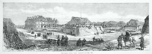 1871 Print FRANCE PARIS - RUINS OF FORT ISSY Franco Prussian War