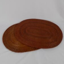 """Woven and Laminated Bamboo Cane Outdoor Placemats Lot of 2 17"""" x 12"""" Oval"""