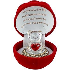 Love Heart Teddy Bear Celebration Red Velvet Touch Rose Gift Boxed Glass Present
