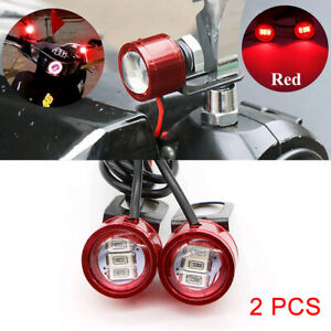 2× DC-12V Motorcycle Rearview Mirror Eagle Eye 3 LED Flash Strobe Lights DRL Red
