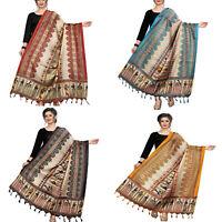 Women Khadi Silk Dupatta New Traditional Ethnic Fashion Scarf Wrap Shawl
