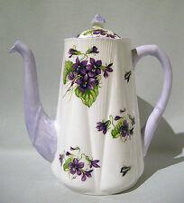 Rare SHELLEY Large VIOLETS Floral DAINTY SHAPE COFFEE POT Mauve Purple Trim MINT