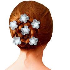 6 épingles cheveux mariage soirée mariée fleur blanche rose en satin organza