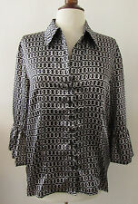 NWT Womens DRESS BARN Black & White Geometric Ring Print Shiny Shirt ~ L (N25)