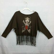 Disney Forever21 Womens Medium Gothic Snow White Fringe Crop Long Sleeve Top