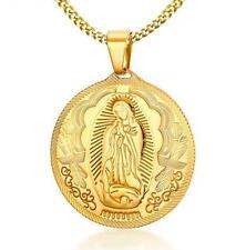 Gold Stainless Steel Fashion virgin Mary Pendant Necklace Chain 24'' Women Mens