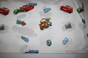 Disney Cars McQueen Mater Pixar Twin Flat Bed Sheet Movie Craft Material Logo