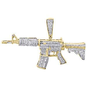 10K Yellow Gold Round & Baguette Diamond Military Rifle Gun Pendant Charm 5/7 CT