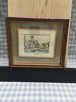 """Antique Miniature Etching In Mahogany Frame """"Charpentier ? """" French 1800's"""