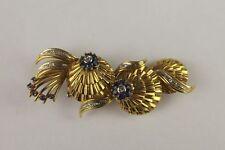 18ct Yellow Gold Sapphire & Diamond Brooch