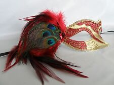 Venetian Masquerade Party Mask - Red & Gold With Peacock Feathers - NEW -
