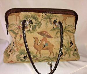 BRIGHTON -  Tapestry Carpet Bag Handbag Purse Camel Monkey Leather Tote Vintage