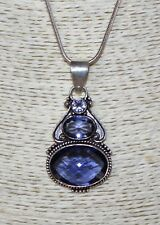 """22"""" Silver Snake Chain Necklace 32 3 Faceted Pale Purple Gemstone 55mm Pendant"""