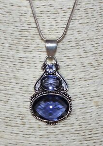 """3 Faceted Pale Purple Gemstone 55mm Pendant 22"""" Silver Snake Chain Necklace 32"""