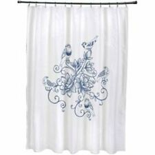 "E by Design 71"" x 74"" Five Little Birds Floral Print Shower Curtain Blue"