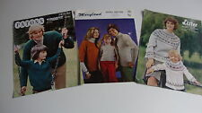 """Three Vintage Knitting Patterns for Family Jumpers, Sizes 26"""" - 44"""","""