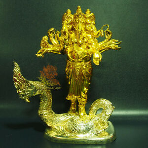 "Thai Amulet Ganesha on PhayaNak Naga Brass Statue 11.5"" Tall Wat KooKadNeua RARE"