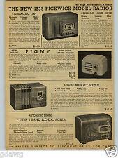 1938 PAPER AD 2 PG Pickwick Brand Model Radio Console Pigmy Midget 11 Tube