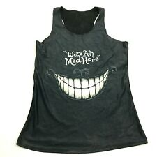 VINTAGE Alice In Wonderland Tank Top Dry Fit Shirt Size XS -S Black WERE ALL MAD
