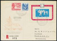 SCHWEIZ 1951, Block 14, Mischfrankatur auf portogerechtem R-Brief, Mi. 240,-