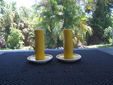 VINTAGE PAIR OF SCHMID PORCELAIN EXPRESSO CUPS WITH SAUCERS MUSTARD YELLOW 2 OZ