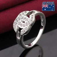Women's Girl's 925 Silver Filled Crystal Engagement Wedding Ring  Unique Size 7